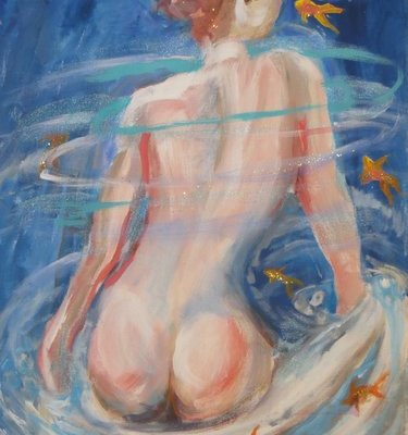 She Swims With Fishes, mixed media painting by Wendy Gell, 2013