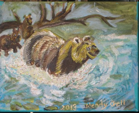 Frolicking Bears, original mixed media painting of a family of bears playing in a river by Wendy Gell, 2014