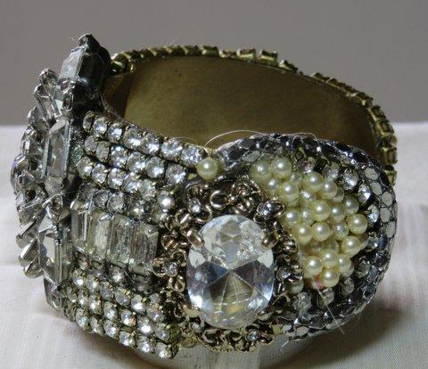 Stargate Crystal Bridal Cuff Bracelet by jewelry designer Wendy Gell, side detail
