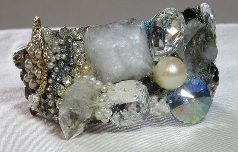 Single Pearl Bridal Cuff Bracelet with Buddha by Wendy Gell