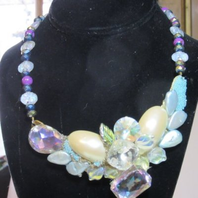 Asymmetrical Bridal Necklace by jewelry designer Wendy Gell
