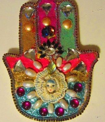Jeweled Hamsa with Adagio by fashion jewelry designer Wendy Gell
