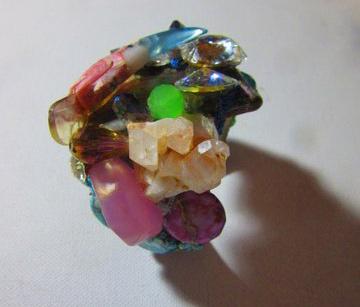 Toucan Bird in Jeweled Nest Wristy Cuff Bracelet - Top View. Fashion bracelet with semi precious stones and Swarovski stones by Wendy Gell