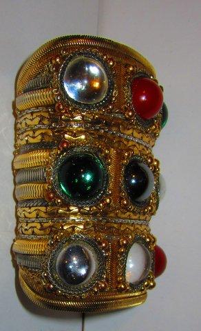 side detail of Byzantine Wristy Cuff Bracelet, made for an Oscar de la Renta runway show by celebrated jewelry designer Wendy Gell