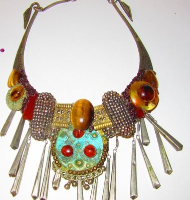 Ethnic Dangle Necklace with Afghani elements by jewelry designer Wendy Gell