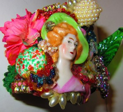 Porcelain Lady in Hat Wristy, by jewelry designer Wendy Gell
