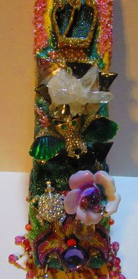 Jeweled Owl Mezuzah : Ornately jewel encrusted Owl mezuzah by fashion jewelry designer by Wendy Gell. $200