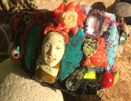 Laughing Netsuki Wristy with Buddha, Swarovski, turquoise and more by Wendy Gell