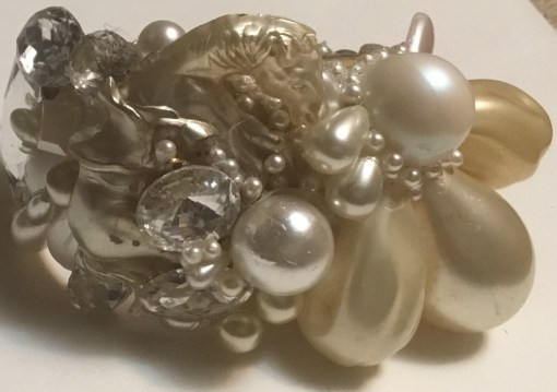 Pearl Horse Wristy with White Swarovski gems by Wendy Gell.