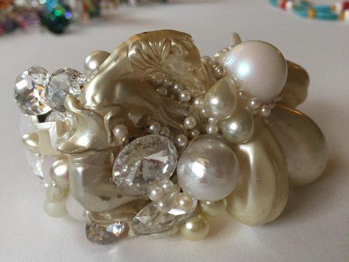 Pearl Horse Wristy with White Swarovski gems by Wendy Gell.