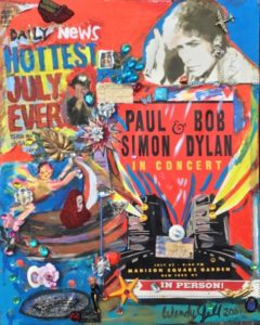 Wendy's embellished concert poster for Paul siman and bob Dylan - Hottest July Ever