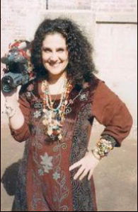 Wendy Gell with her bejeweled video camera.
