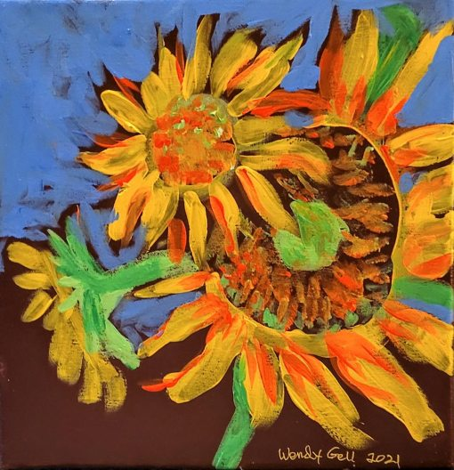Sunflower Series Painting by Wendy Gell