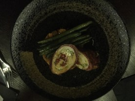 Schnitzel with green beans and kumara mash