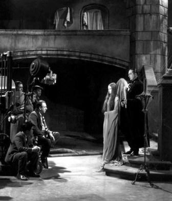 "Lugosi (Count Mora) and Carol Borland (Luna) filming ""Mark of the Vampire"" (1935)"