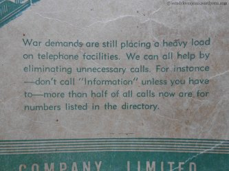 A war-time message on the cover of the 1945 phone book.