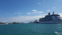 Cruise ships lined up at port