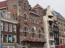 Amsterdam building with colored ribbons