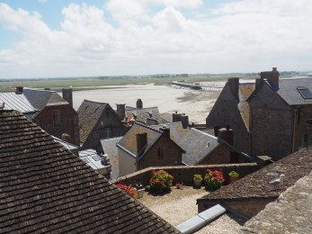 The village rooftops from the top of Mont St Michel