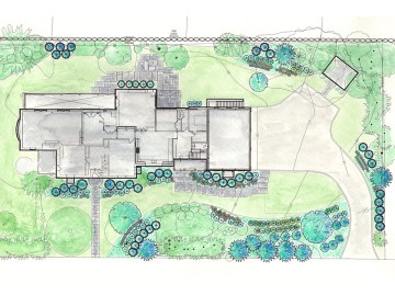 Landscape design drawing of large landscape project