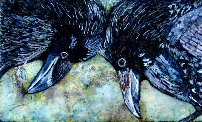 painting of two crows