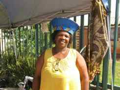 This lovely lady was selling elaborate bead objects which she had made herself. The hats were really something else!