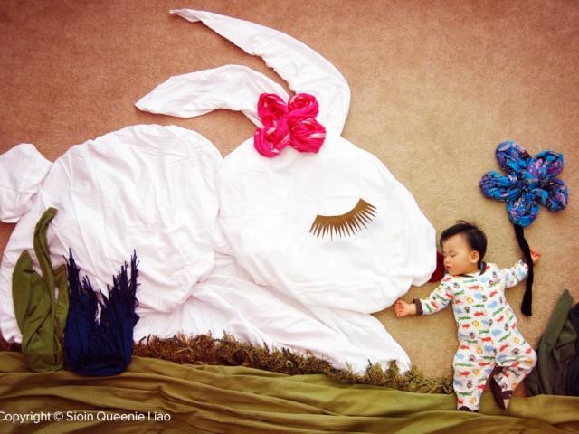 anak bermain kelinci