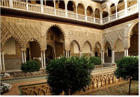 Ein Teil der Reales Alcazares in Sevilla