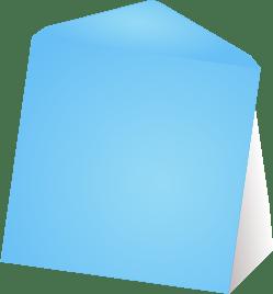 Blauwe wenskaart enveloppen