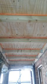 Underside of new portico roof