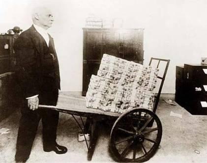 Wheelbarrow of money in 1920s Germany