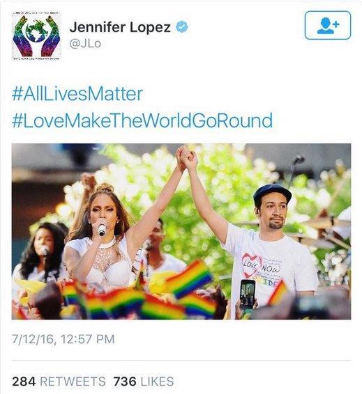 """Jennifer Lopez tweets """"all lives matter"""""""