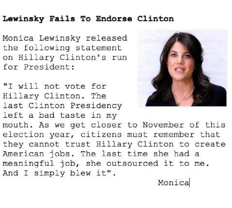 lewinsky fails to endorse clinton