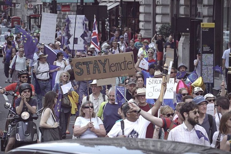 Brexit: Pro remain demo, Stronger Together.