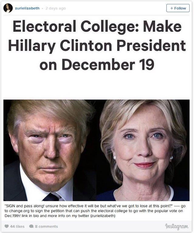 Clinton Dec 19 electoral college