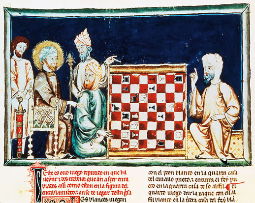 """Medieval Muslims (""""Moors"""") in al-Andalus playing chess, 1283"""