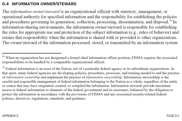 Information Owner and Steward