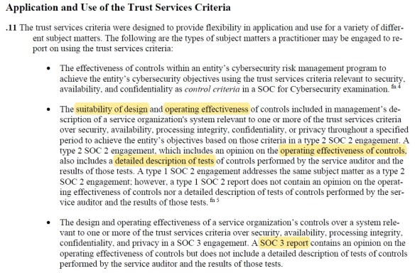 Application and Use of the Trust Services Criteria