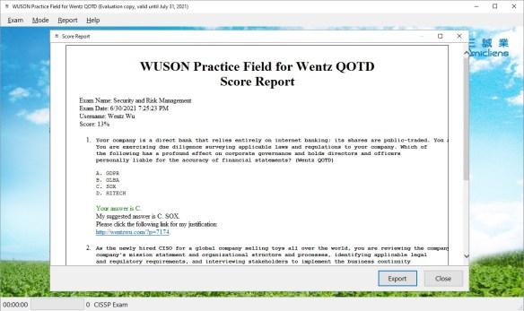 WUSON Practice Field for Desktop - Score Report