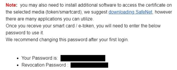Sectigo Token Password Notification