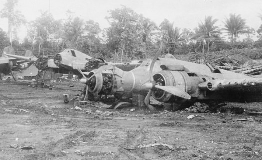 Wrecked Beaufghfighters, Thelma and Fortuna III, at Morotai airf