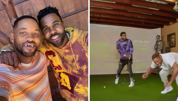 """Will Smith """"loses"""" his teeth playing golf with Jason Derulo 