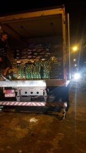 caminhão apreendido durante operação da Polícia Civil.