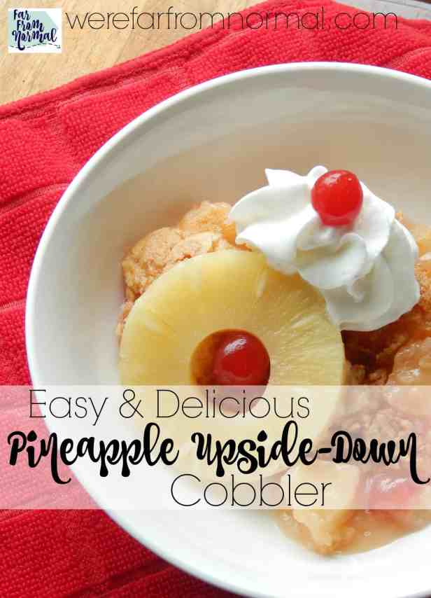 This pineapple upside down cobbler is such an easy dessert!! All the flavor of a pineapple upside-down cake in a super easy to make cobbler! It comes together in minutes!