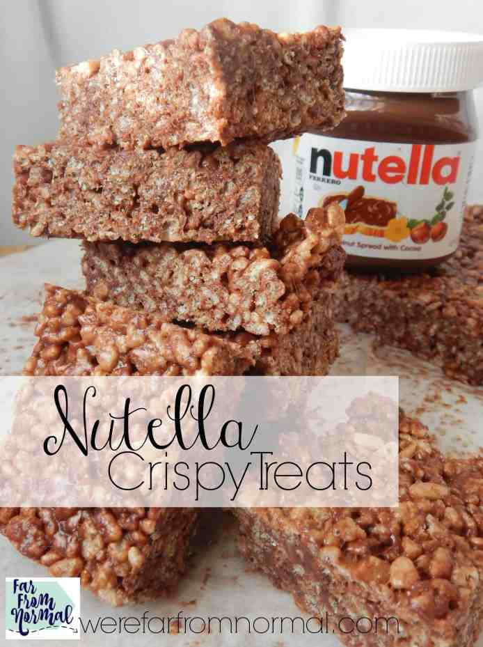 Be careful with these Nutella rice krispie treats! It's easy to eat the whole pan!! Chewy crunchy crispy treats with the awesome taste of Nutella!!