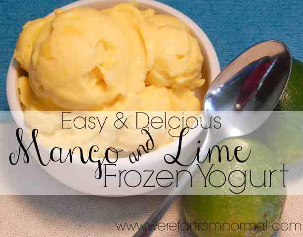 Homemade Mango and Lime Frozen yogurt, so easy to make, only 4 ingredients and is ready in about 5 minutes!