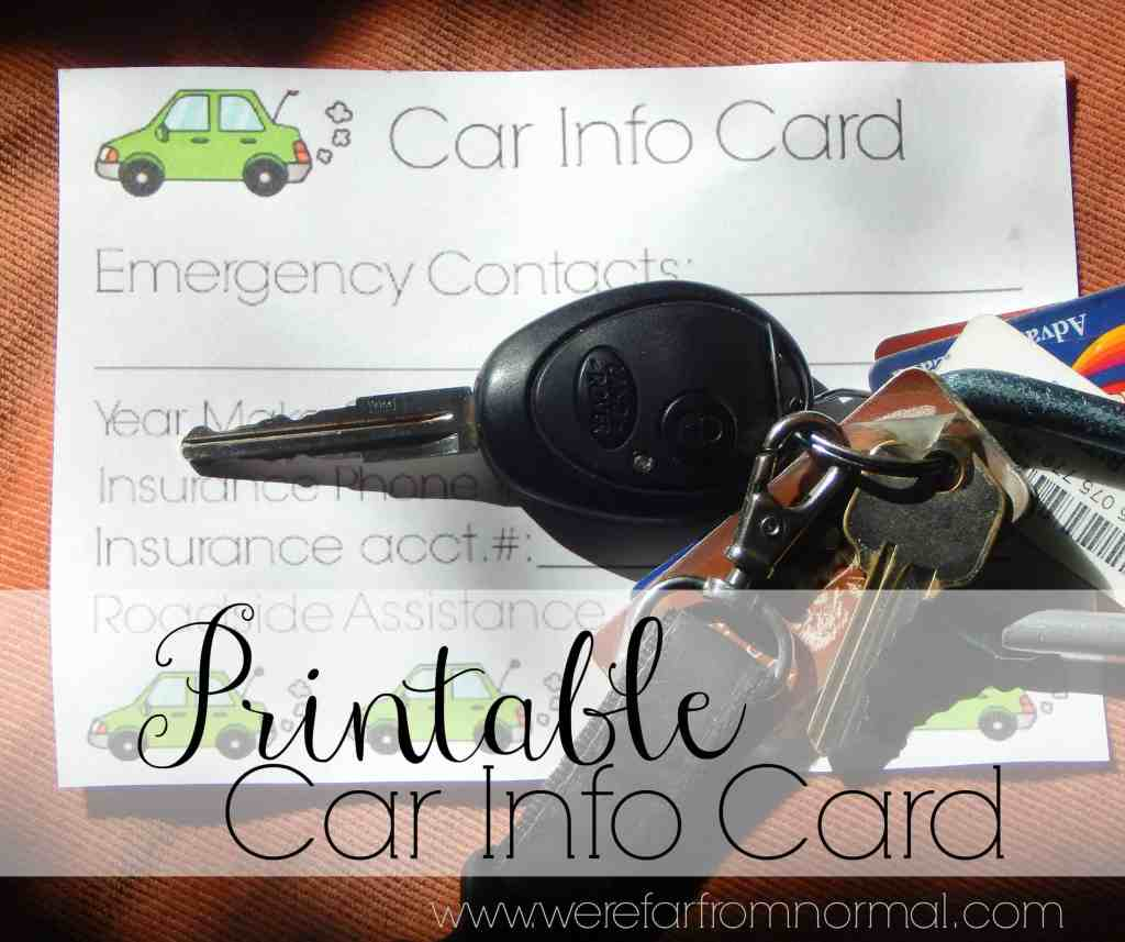 Car Info Card Printable {New Driver Series}