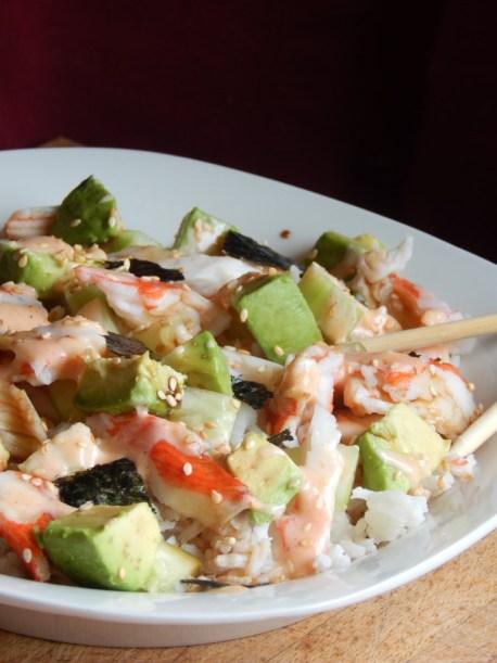Philadelphia roll sushi bowl