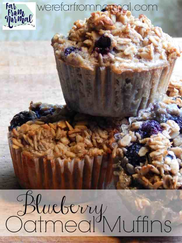 These blueberry oatmeal muffins are the perfect combination of blueberries and baked oatmeal. They are nice and hearty and just sweet enough! Perfect for a grab & go breakfast.