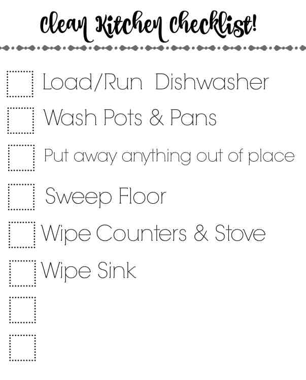 This handy printable checklist will help keep you kitchen clean! It's a great way for helpers to know what needs done without Mommy telling them!